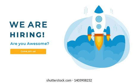 We Are Hiring Vector Concept with Flying Rocket Ship. Startup Project Launching and Looking for a Specialist. Are you Awesome? Business Hiring and Recruiting Concept Flat Style Vector
