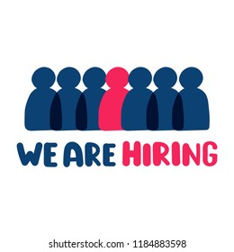 We are hiring. Vector hand drawn illustration on white background.