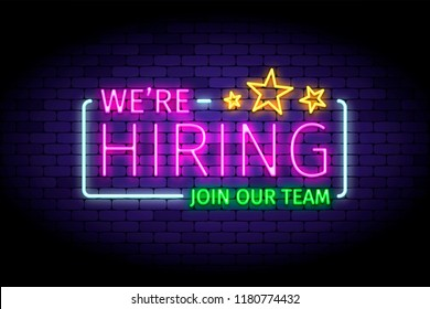 We are hiring vector illustration in realistic neon style on the brick wall. Illustration for hiring ads design.