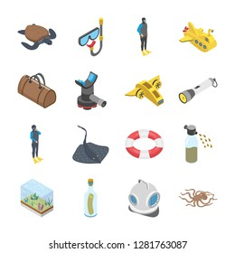 We are honored to present you a set of scuba diving snorkelling underwater tools accessories vector icons that are simple, useful and optimal for shipment projects, enjoy it with love.