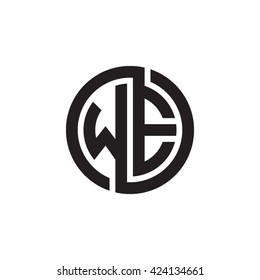 WE initial letters looping linked circle monogram logo