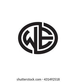 WE initial letters looping linked ellipse monogram logo