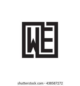 WE initial letters looping linked square monogram logo