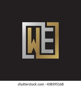 WE initial letters looping linked square elegant logo golden silver black background