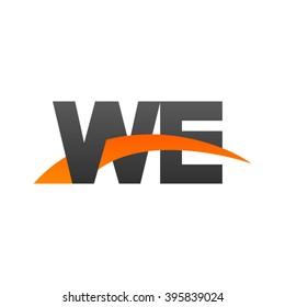 WE initial overlapping swoosh letter logo black orange