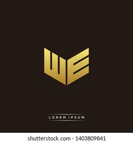 WE Logo Letter Initial Logo Designs Templete with Gold and Black Background