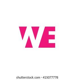 WE Logo. Vector Graphic Branding Letter Element. White Background