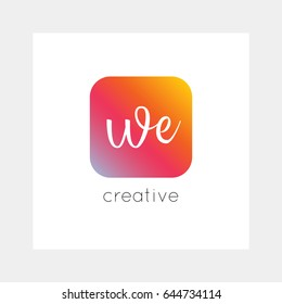 WE logo, vector. Useful as branding, app icon, alphabet combination, clip-art.