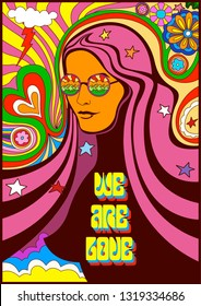 We are Love 1960s  Style Hippie Psychedelic Poster