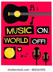 We Love Music! (Flat Style Vector Illustration Quote Poster Design)