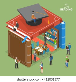 We love reading isometric flat vector concept. People near and inside library that is built of books. Education, reading, learning online. Online education, e-learning, tutorial, training courses.