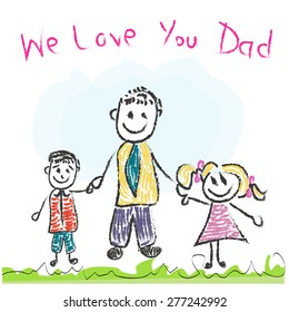 We love you Dad Father's day doddle greeting card