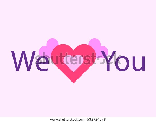 We Love You Red Heart Symbol Stock Vector (Royalty Free
