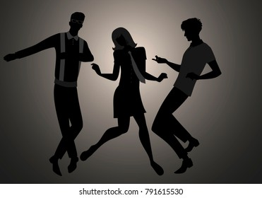 We are Mods. Silhouettes of two guys and girl wearing retro clothes in the 1960s style dancing
