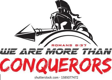 WE ARE MORE THAN CONQUERORS_ROMANS 8_37 VERSE VECTOR DESIGN