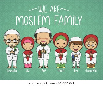 We are moslem family doodle vector