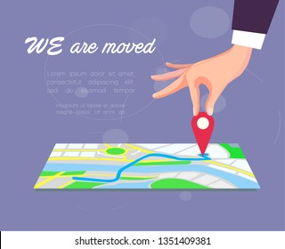 We are moved, changed address, moving concept. Vector illustration.