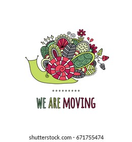 We are moving colorful doodle vector illustration with snail, flowers, swirls and abstract shapes on a white background.