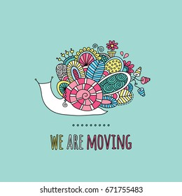 We are moving colorful doodle vector illustration with snail, flowers, swirls and abstract shapes on green background.