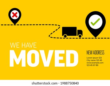 We are moving from one address to another address - minimalistic yellow flyer template with place for new company office shop location address. Template for poster flyer with new address relocation.