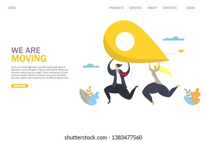 We are moving vector website template, web page and landing page design for website and mobile site development. Business man and woman running with location pin in raised hands. Office relocation.