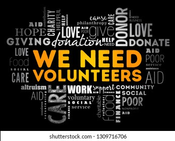 WE NEED VOLUNTEERS word cloud collage, social concept background