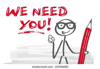 we need you, stick figure pointing with his finger