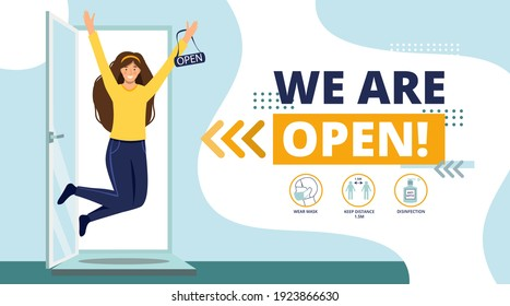 We are open again after lockdown COVID-19.Reopening.Happy woman jumping with open sign in hands.Open a cafe,shop,store,salon,market,restaurant.Small business.Welcome back concept vector illustration.