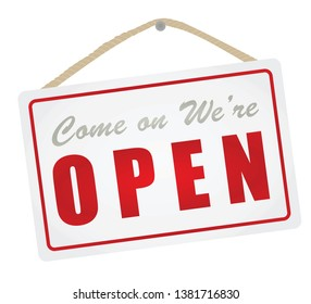 We are open hanging sign. vector illustration