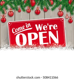 We are open sign for christmas. Eps 10 vector file.