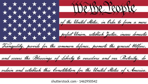 We The People American Flag with the preamble to the US Constitution written on the stripes.