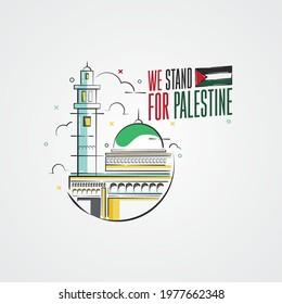 We Stand for Palestine Vector Background Illustration