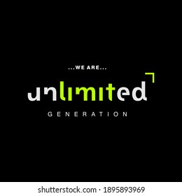 we are unlimited typography graphic design, for t-shirt prints, vector illustration
