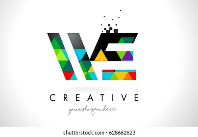 WE W E Letter Logo with Colorful Vivid Triangles Texture Design Vector Illustration.