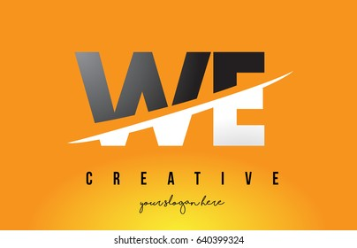 WE W E Letter Modern Logo Design with Swoosh Cutting the Middle Letters and Yellow Background.