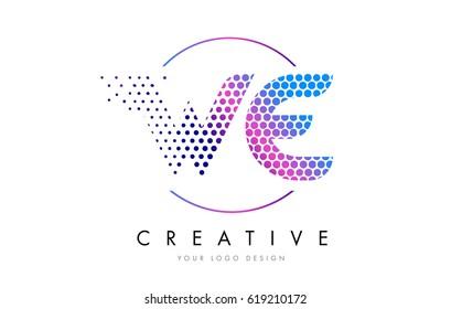 WE W E Pink Magenta Dotted Bubble Letter Logo Design. Dots Lettering Vector Illustration