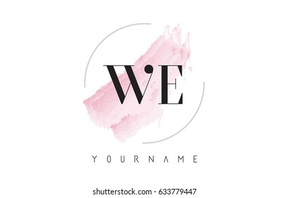 WE W E Watercolor Letter Logo Design with Circular Shape and Pastel Pink Brush.