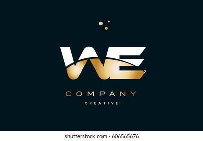 we w e  white yellow gold golden metal metallic luxury alphabet company letter logo design vector icon template