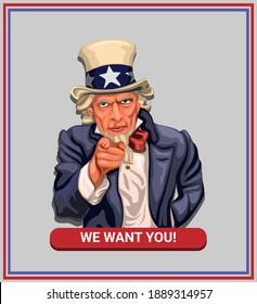 We want you! slogan with uncle sam in american vintage poster concept in cartoon illustration vector