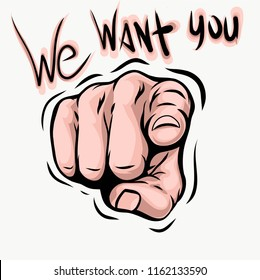 We want you. Vector illustration