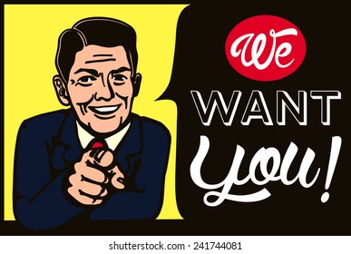 We want you! Vintage businessman picking candidate for job vacancy, we're hiring, recruitment illustration