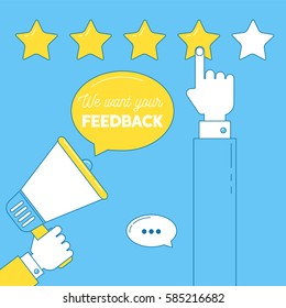 We want your feedback illustration. Man press on stars to rate service quality, leaves comment