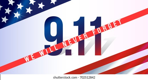 We Will Never Forget. 9/11 Patriot Day background, American Flag stripes background. Patriot Day September 11, 2001 Poster Template, we will never forget you, Vector illustration for Patriot Day