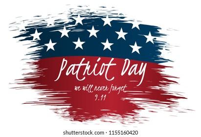We will Never Forget Patriot Day Vintage Label Design. 9/11 Patriot Day background, Patriot Day September 11