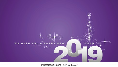 We wish you a Happy New Year 2019 silver purple greeting card
