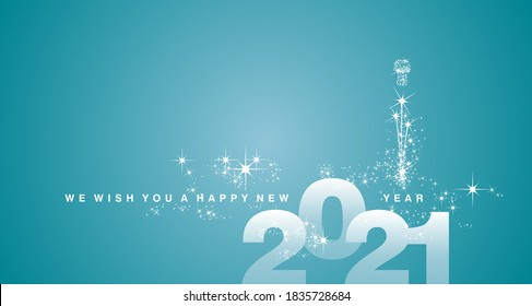 We wish you a Happy New Year 2021 white sea green aqua color greeting card