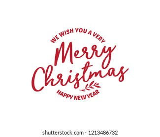 We wish you a Merry Christmas text. Calligraphy text for greeting cards