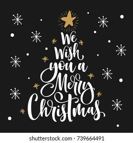 We wish you a Merry Christmas Calligraphy text for greeting cards.