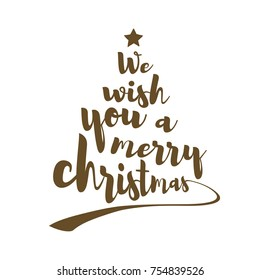 We wish you a merry christmas quote. Calligraphic text makes the shape of a christmas tree with a star on top. Vector art.