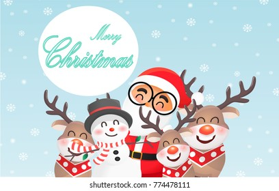 We wish you a Merry Christmas. Santa Claus with his friend, reindeer and snow man. Blue background.